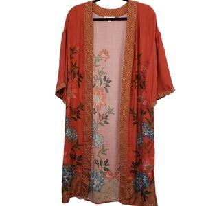 DR2 Kimono Floral Open Burnt Orange Med Large